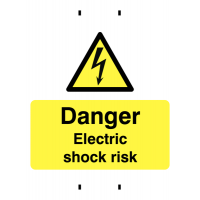 Temporary post-mounted electric shock warning sign in rigid plastic