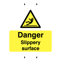 Rigid plastic slippery surface warning sign for post-mounting
