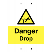 Adaptable post-mounted temporary signage identifying dangerous drops