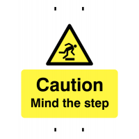 Reusable temporary post-mountable caution mind the step signs