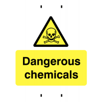 Temporary dangerous chemicals post-mounted rigid plastic warning sign