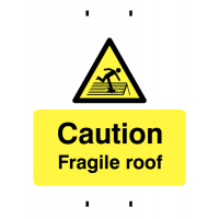 Distinctive temporary fragile roof warning signs