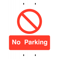 No Parking' Temporary Pre-Drilled Post Mounting Sign with Cable Ties