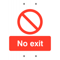 Rigid Plastic 'No Exit' Post-Mounted Sign for Temporary Use