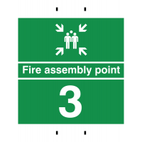 Fire Assembly Point 3 - Reusable Post-Mounted Signs