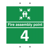 Fire Assembly Point 4 - Reusable Post-Mounted Signs