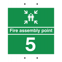 Fire Assembly Point 5 - Reusable Post-Mounted Signs