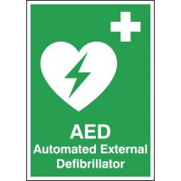 Freestanding Tabletop Automated External Defibrillator (AED) Sign