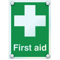 Highly visible, protruding first aid acrylic signs