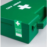 Tamperproof eyewash labels with first aid symbol
