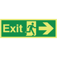 Glow-in-the-Dark Fire Exit Sign with Man Running Right Symbol and Arrow