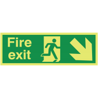 Glow In The Dark Fire Exit (Right Diagonal Arrow Down) Sign