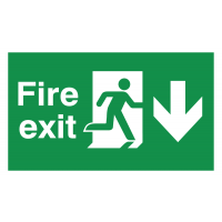 Durable Fire Exit Running Man and Arrow Down Floor Signs