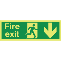 Glow-in-the-dark fire exit running man right/arrow down sign
