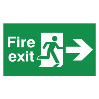 Durable Fire Exit Running Man and Right Arrow Floor Signs