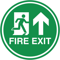 Durable Fire Exit Man and Arrow Up Floor Signs