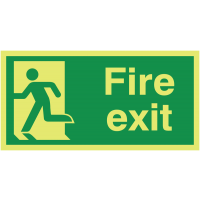 Glow-in-the-Dark Fire Exit Sign with Man Running Left Symbol