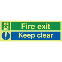 Glow-in-the-Dark 'Fire Exit' and 'Keep Clear' Dual-Message Sign