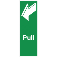 'Pull' Safety Sign Featuring a Forward Pointing Arrow