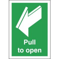 Door opening directional sign on self-adhesive vinyl