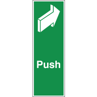 Universal and Easily Applied Push Back Arrow Fire Door Signs