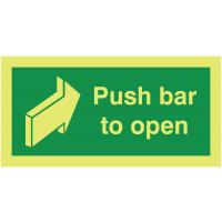 Xtra-Glo photoluminescent push bar to open door fire safety sign