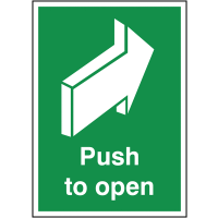 'Push to Open' Fire Door Sign with Back Arrow Image