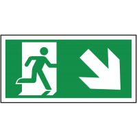 Durable Fire Exit Running Man and Diagonal Right Arrow Sign