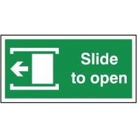 Self Adhesive Fire Door Slides Left to Open Arrow Sign