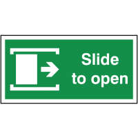 Self Adhesive Fire Door Slides To Right to Open Arrow Sign