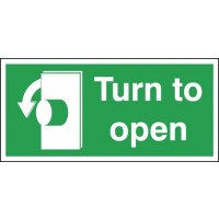 Anti-clockwise 'turn to open' advisory signs