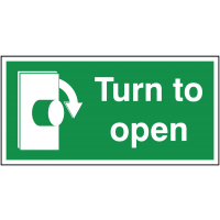 Clockwise 'turn to open' fire exit signs