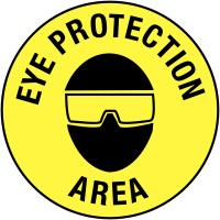 Eye Protection Area' Anti-Slip Self-Adhesive Circular Floor Markers