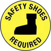 "Heavy duty ""safety shoes required"" anti-slip floor markers"