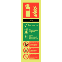 Co2 Fire Extinguisher Usage Information Sign with Glow-in-the-Dark Print