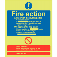 Glow-in-the-dark 'any person discovering a fire' action signs