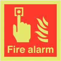 Xtra-Glo (glows in the dark) fire alarm location symbol & text sign