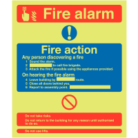 XtraGlo 'Glow In The Dark' Fire Alarm Fire Action Aluminium Sign