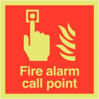 Photoluminescent Aluminium Fire Sign Displaying Alarm Call Point