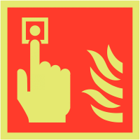 Xtra-Glo (glows in the dark) fire alarm location symbol signs