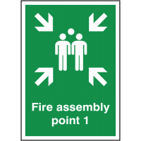 Fire Assembly This Way Left Outdoor Aluminium Signs