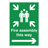 Fire Assembly This Way' Right Arrow Outdoor Aluminium Sign