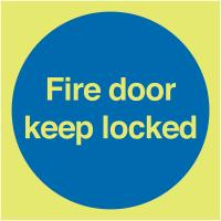 Photo-luminescent Xtra-Glo Premium Aluminium 'Fire Door Keep Locked' Sign