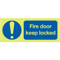 Glow-in-the-Dark 'Fire Door – Keep Locked' Sign with Exclamation Mark Symbol