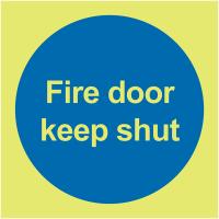 Xtra-Glo premium photoluminescent aluminium keep fire door shut safety sign