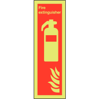 Photoluminescent Aluminium Fire Extinguisher Symbol Sign