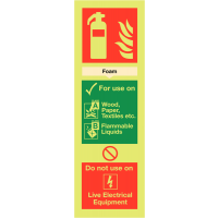 Long-lasting Nite-Glo foam fire extinguisher guidance signs