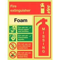 Glow-in-the-Dark Foam Fire Extinguisher Sign with Simple Instructions