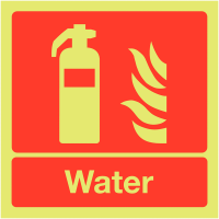 Clear and visual Nite-Glo Photoluminescent Water Fire Extinguisher Signs