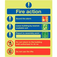 XtraGlo instructional aluminium fire action sign